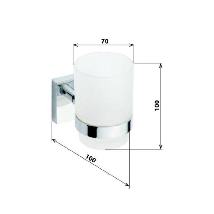 Bekerhouder Sapho X-Square Hangend 7x10 cm Chroom / Melkglas