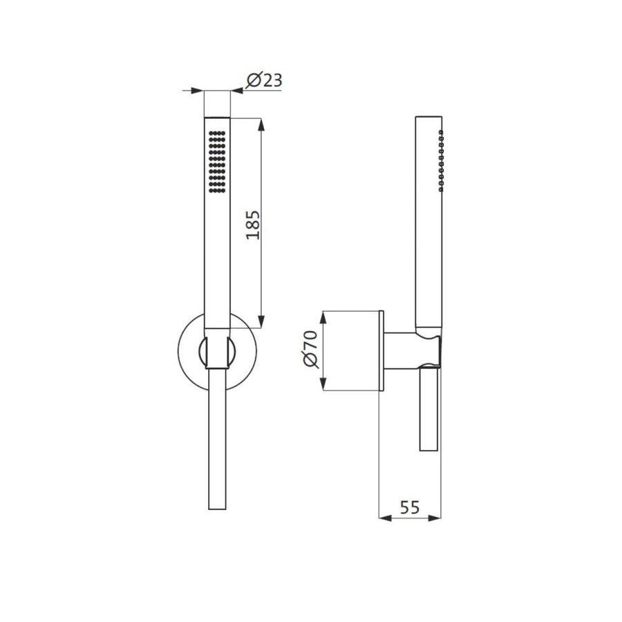 Badset Herzbach Living Spa PVD-Coating met Rozet 125 cm Zwart