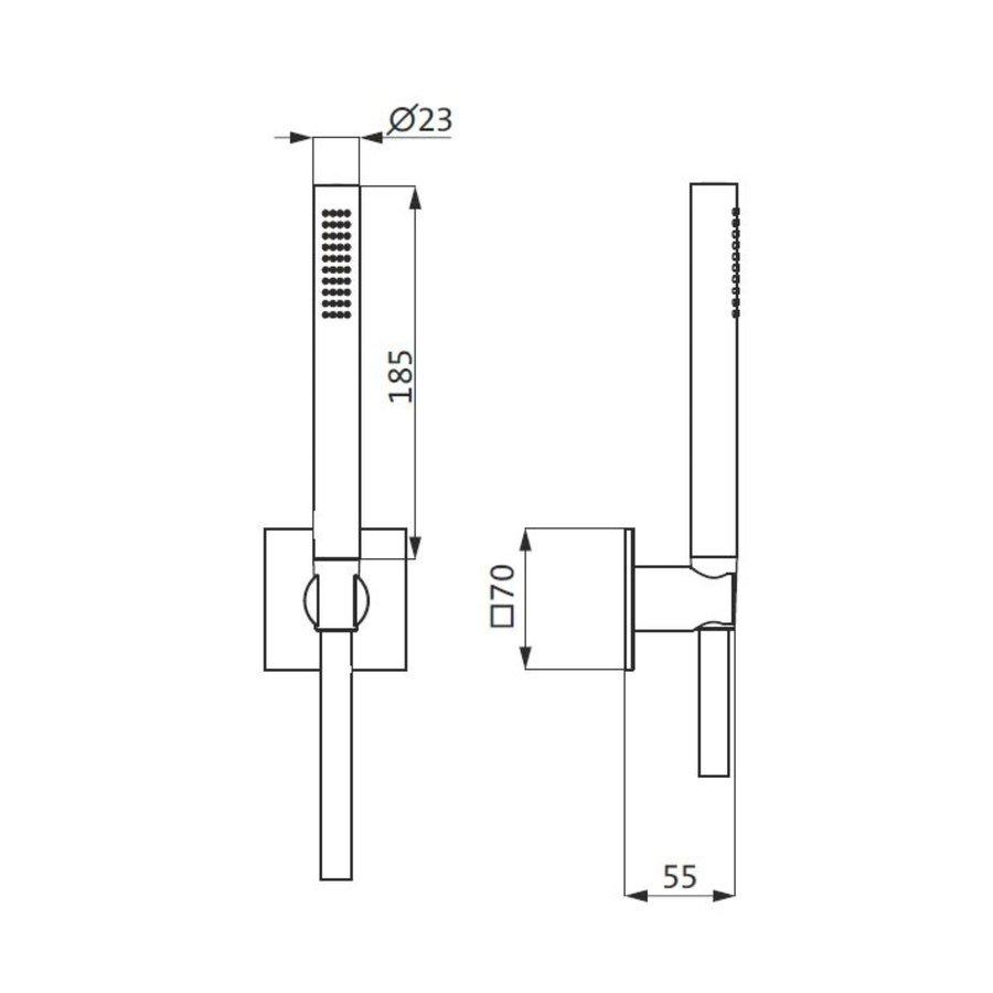 Badset Herzbach Living Spa PVD-Coating met Vierkant Rozet 160 cm Zwart
