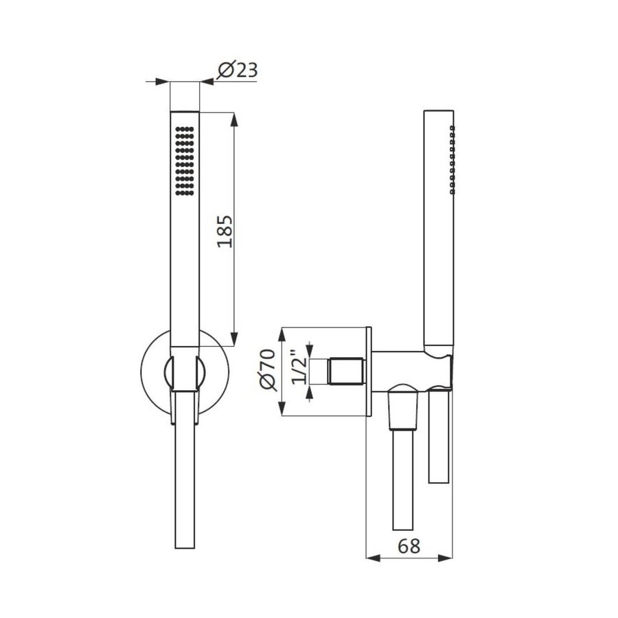 Badset Herzbach Living Spa PVD-Coating Wandbevestiging met Rond Rozet 125 cm Messing Goud