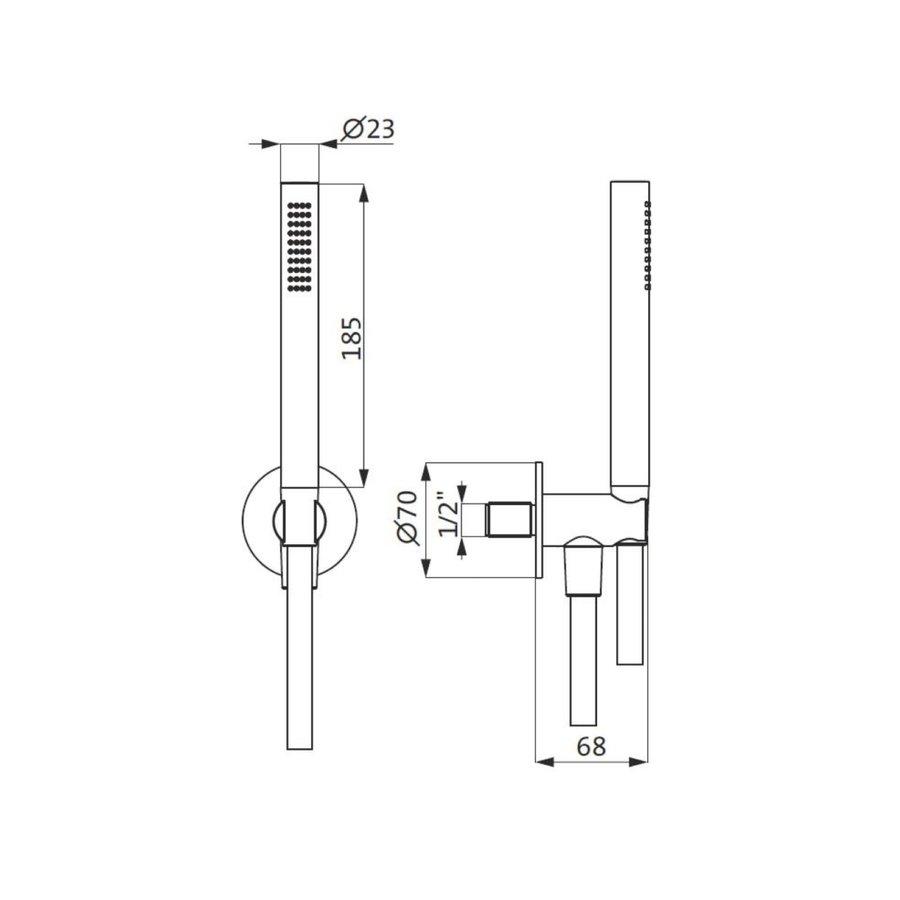 Badset Herzbach Living Spa PVD-Coating Wandbevestiging met Rond Rozet 160 cm Koper