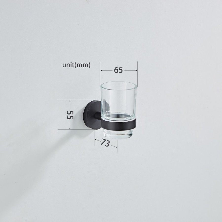 Bekerhouder Boss & Wessing Nero Ø 65mm Messing Mat Zwart