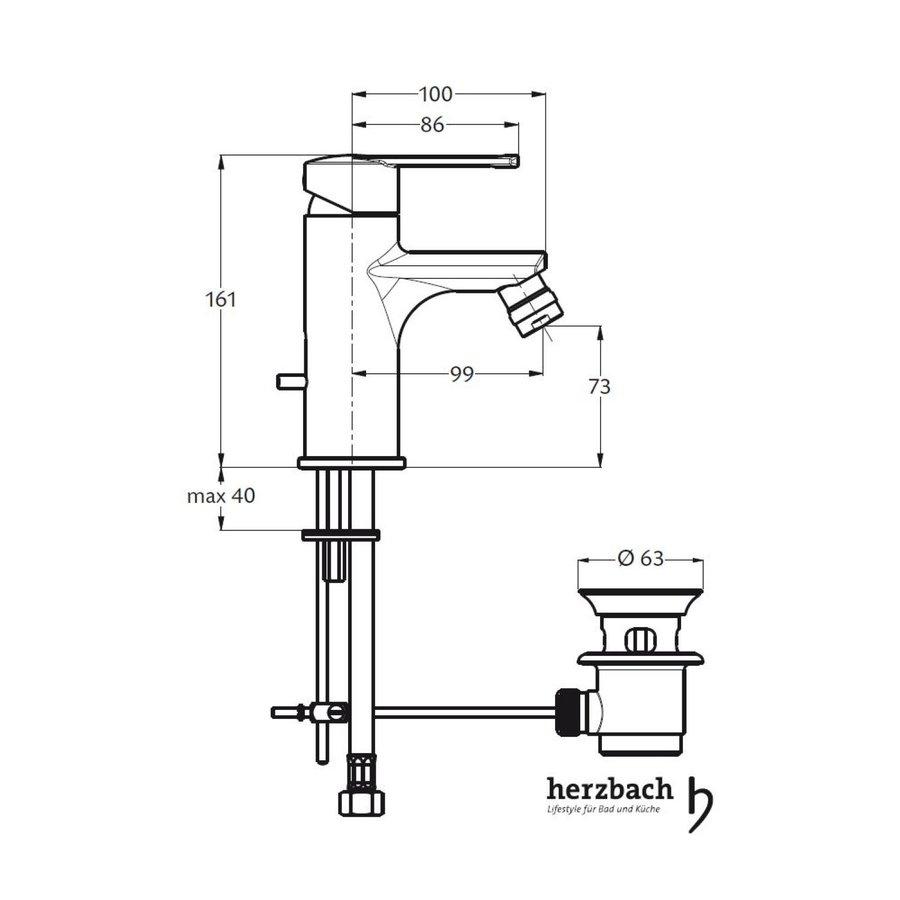 Bidetkraan Herzbach Cool met 5/4'' Clickwaste Waterbesparend Chroom