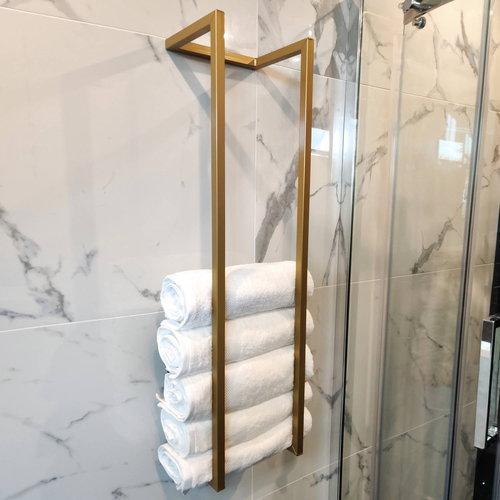 Handdoekenrek AQS Industrieel 95x25x20 cm Goud