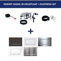 Bedieningsplaat Geberit Sigma 30 SF + DuoFresh Geurzuiveringssysteem Geborsteld Chroom