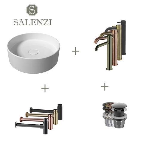Salenzi Waskomset Hide Circle 40x12 cm Incl Hoge Kraan Mat Wit (Keuze Uit 4 Kleuren Kranen)