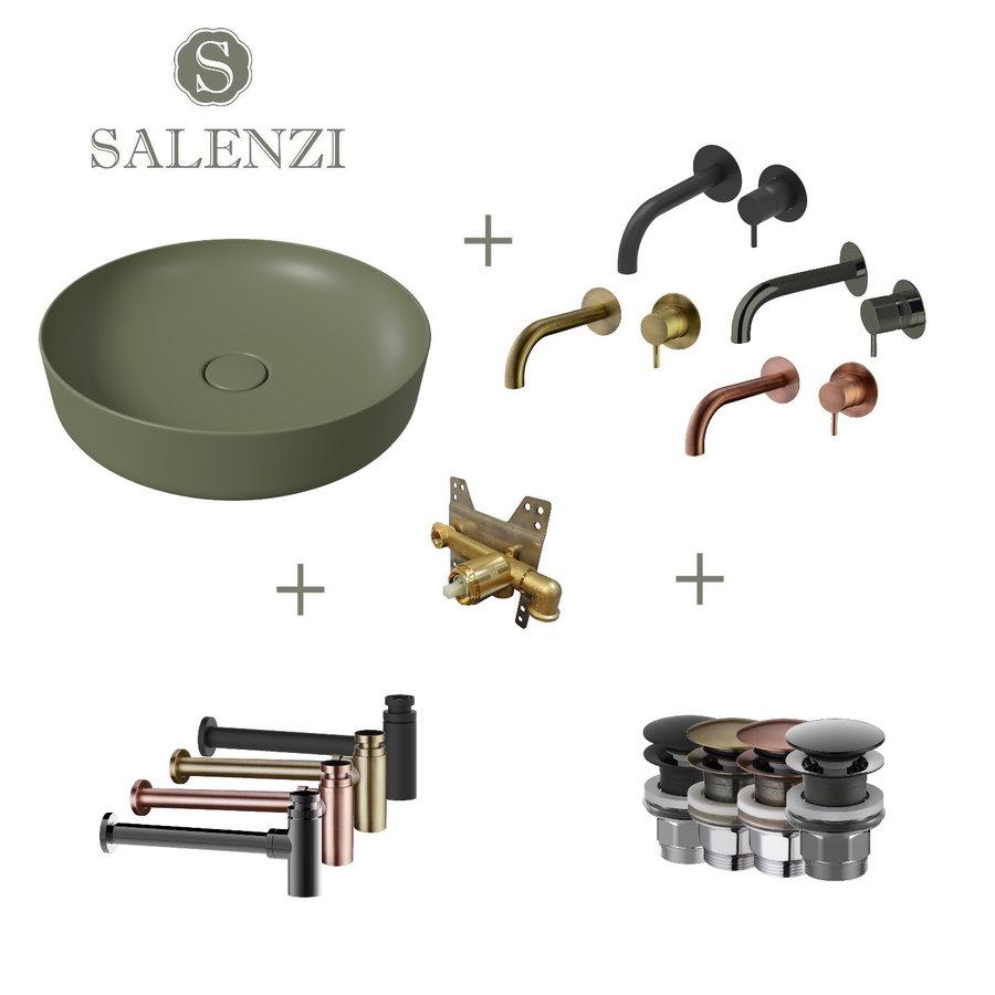 Salenzi Waskomset Form 45x12 cm Mat Legergroen (Keuze Uit 4 Kleuren Kranen)