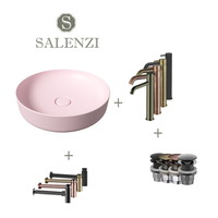 Salenzi Waskomset Form 45x12 cm Incl Hoge Kraan Mat Roze (Keuze Uit 4 Kleuren Kranen)