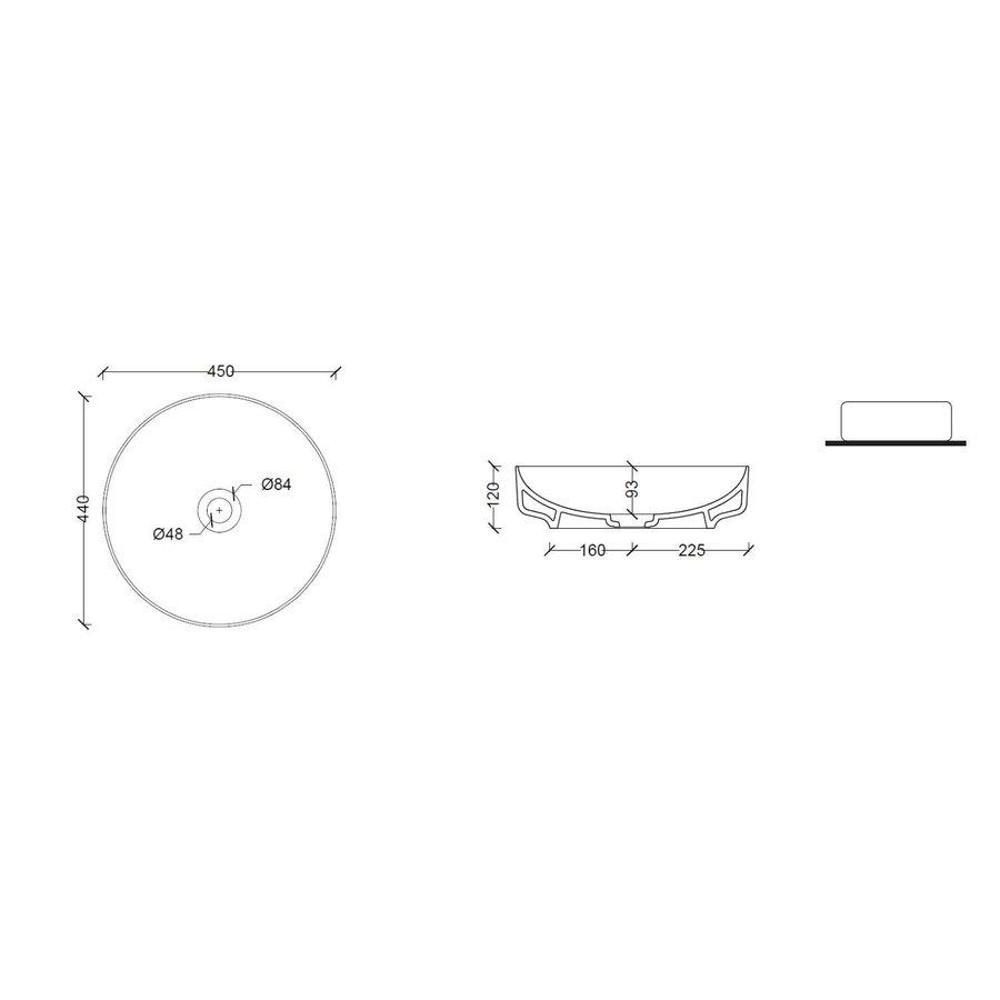 Salenzi Waskomset Form 45x12 cm Incl Hoge Kraan Mat Grijs (Keuze Uit 4 Kleuren Kranen)