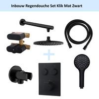 Inbouw Regendouche Set Klik 2-Wegs Mat Zwart (Muuruitloop)