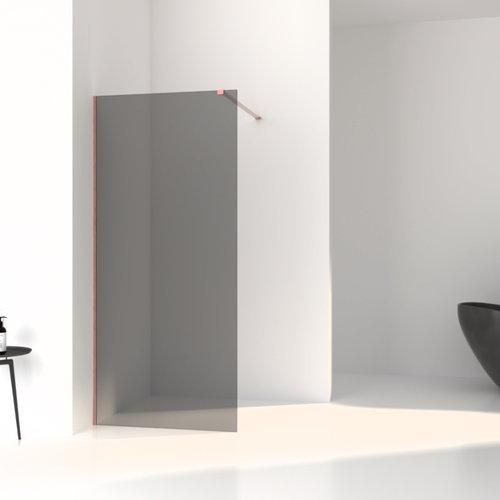 Inloopdouche Aqua Splash Slim Rookglas Anti-Kalk Coating Brushed Copper Profiel (zes varianten)