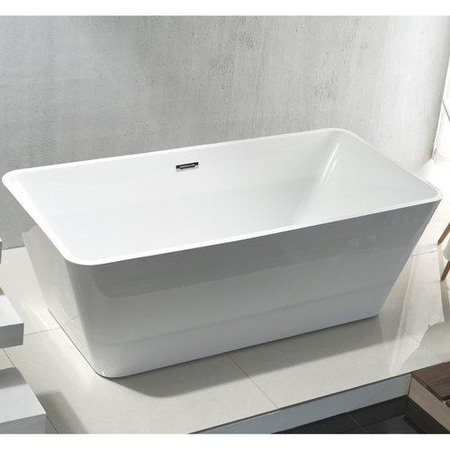 Vrijstaand Ligbad Aloni Quadro Acryl 180x80x60 cm Hoogglans Wit met Afvoer