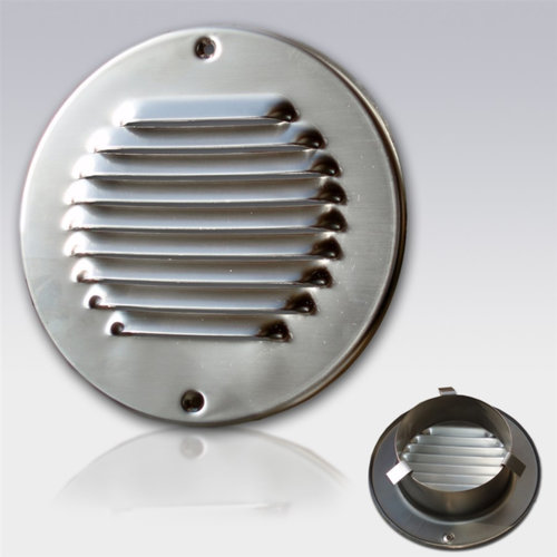 Schoepen Ventilatierooster met Klemveren Weha Rond 12.5 cm RVS