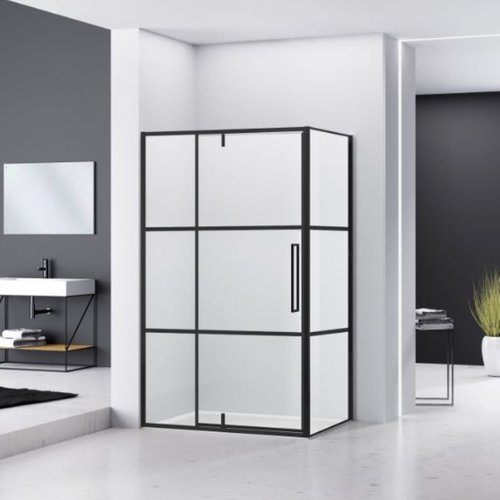 Hoek Douchecabine Van Rijn Zijwand 200x120x100 cm 6 mm Helder Glas Aluminium Zwart