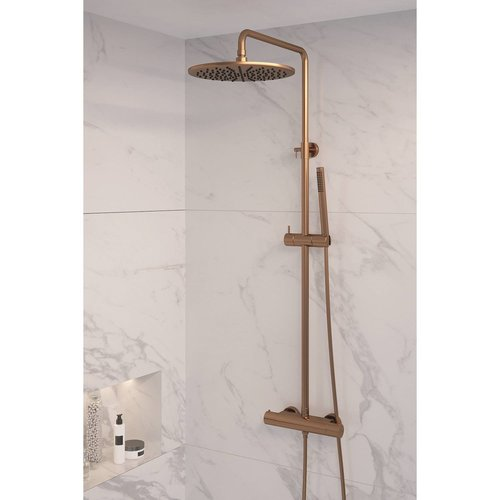 Regendouche Brauer Copper Showerpipe met Thermostaat 30cm Koper