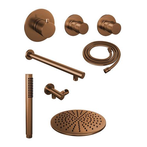 Thermostatisch Inbouwdoucheset Brauer Copper 30cm Hoofddouche Wandarm Staafhanddouche Koper