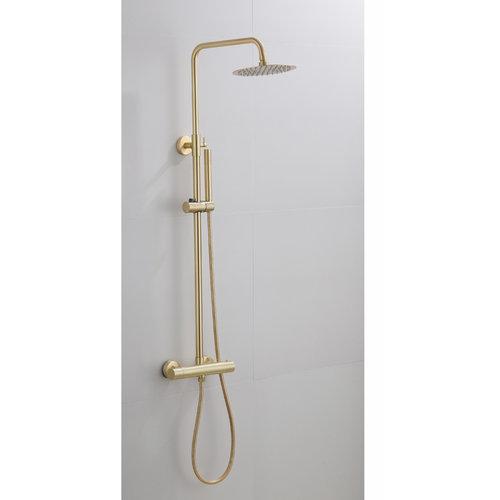 Opbouw Regendouche Set Boss & Wessing Gold Ronde Hoofddouche 20 cm Mat Goud