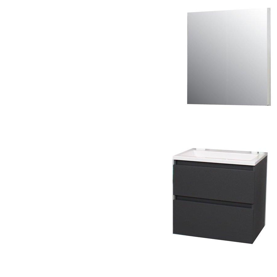 Badkamermeubel BWS Pepper Wastafel Acryl Incl Spiegelkast Zonder Kraangat 60x55x46 cm Antraciet