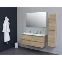 Badkamermeubel BWS Pepper Wastafel Porselein 2 Kraangaten Spiegelkast 120x55x46 cm Eiken
