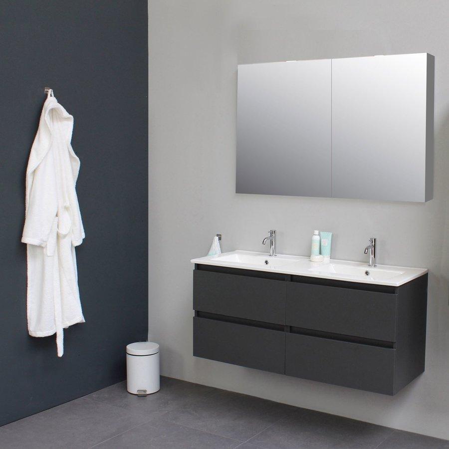 Badkamermeubel BWS Pepper Wastafel Porselein 2 Kraangaten Spiegelkast 120x55x46 cm Antraciet
