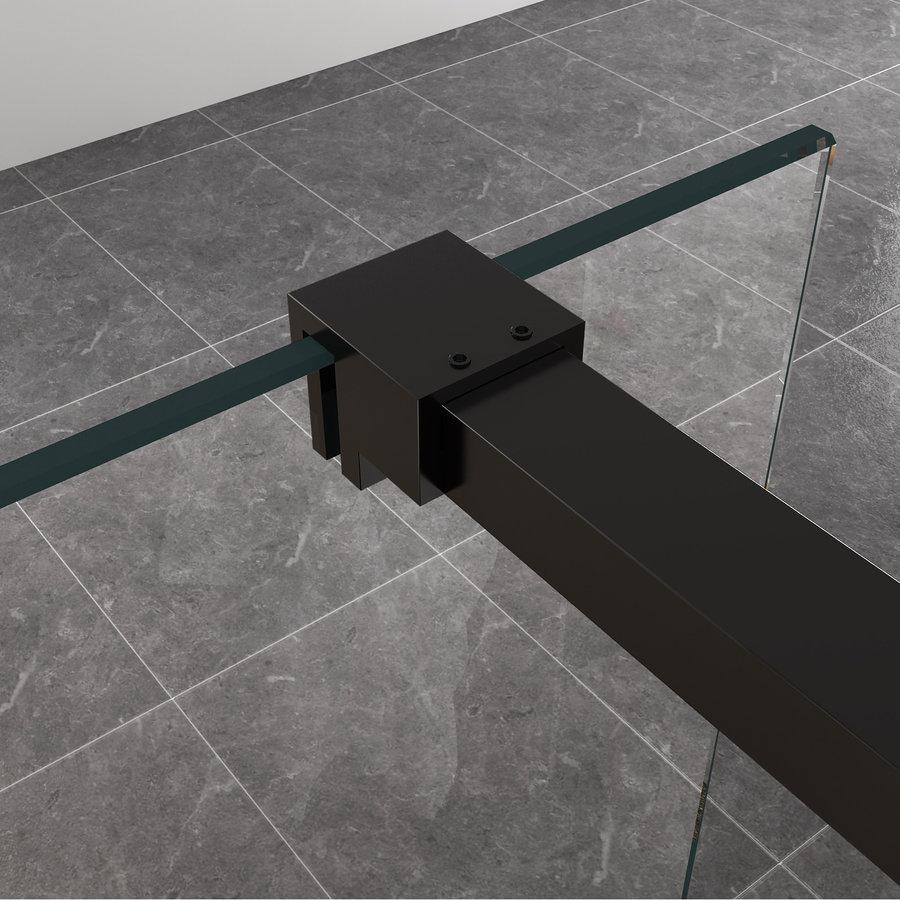 BWS Inloopdouche Met Zwart Muurprofiel 100x200cm Safety Glass En Nano Glas 10mm