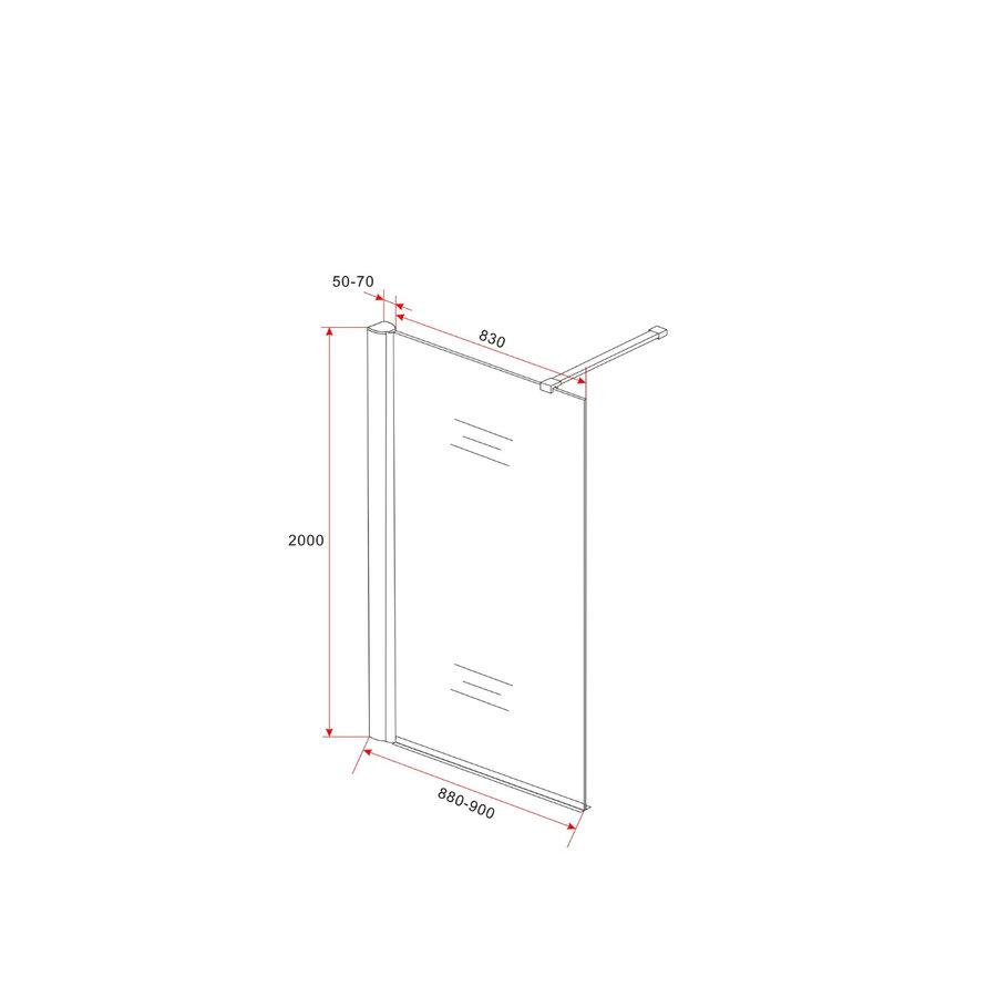 BWS Inloopdouche Met Muurprofiel 90x200cm Safety Glass En Nano Glas 10mm