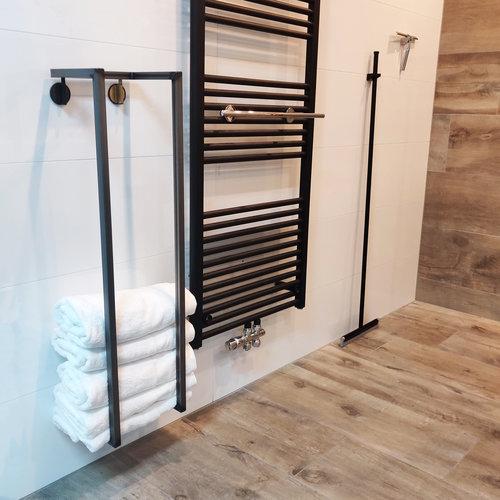 Handdoekenrek BWS Industrieel 95x25x20 cm Staal Glanzende Blanke Lak
