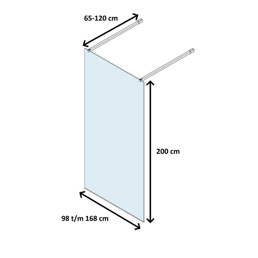 Vrijstaande Inloopdouche Lacus Filicudi Helder Glas Twee Stabilisatiestangen Chroom (alle maten)