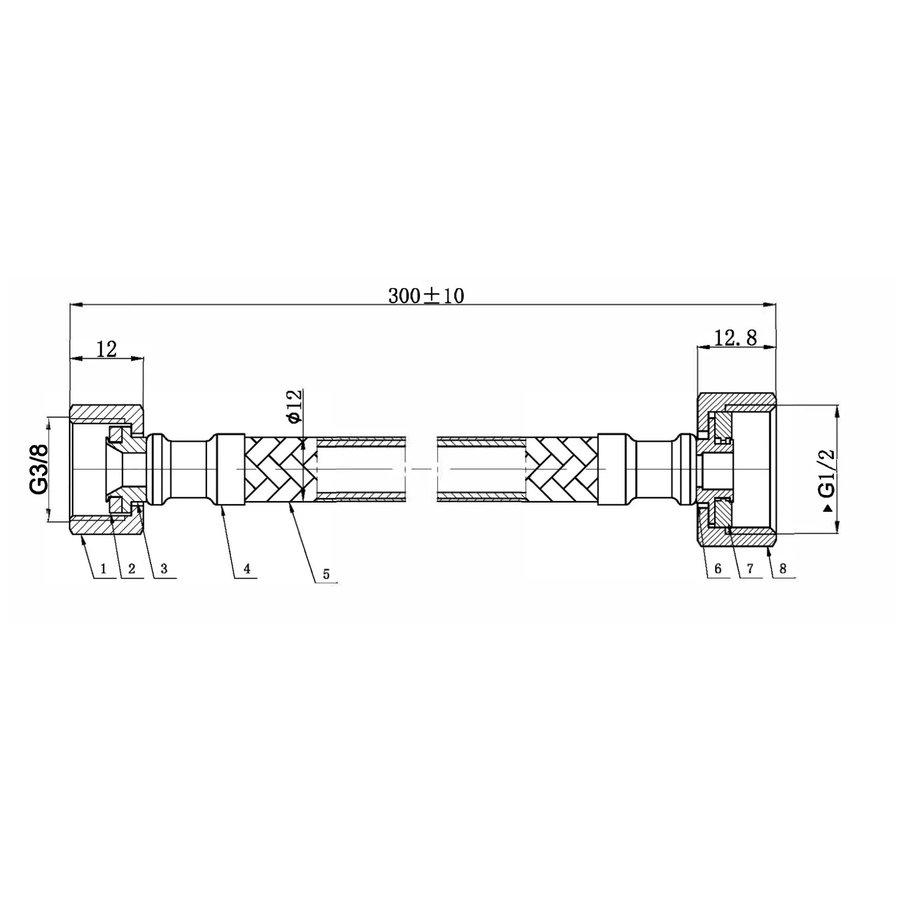 """Flexibele Aansluitslang AQS Nylon Slang 1/2"""" x 3/8"""" Mat Zwart"""