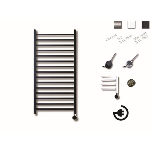 Elektrische Design Radiator Sanicare Plug En Play Qubic 126.4 x 60 cm Mat Zwart Thermostaat Chroom 773 Watt