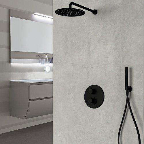 Inbouw Regendouche Set Sanimex Design Giulini met Inbouwdeel Thermostatisch Mat Zwart