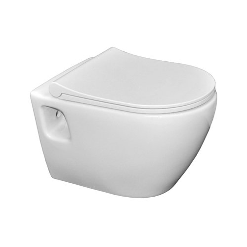 Wandcloset Sanicare Rondo met Soft-Close Toiletzitting Slim Keramiek Quick Release 51x36 cm Wit