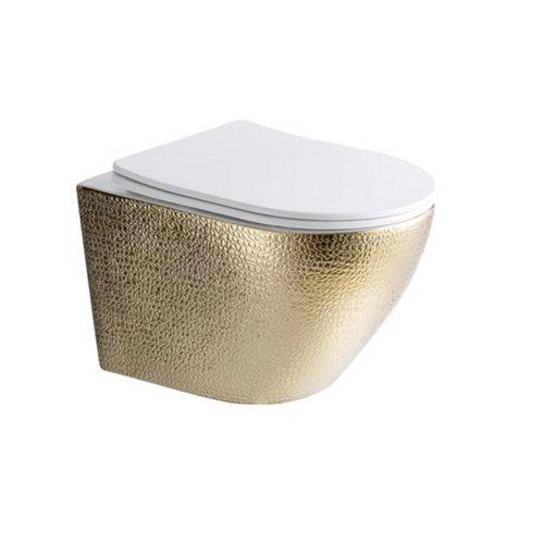 Wandcloset Best Design Royal-Gold Rimfree Inclusief Zitting Glans Wit/Goud