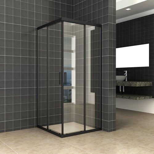 Douchecabine Wiesbaden Skyline Hoekinstap + 2 Schuifdeuren 100x100x200 cm 8mm Helder Glas NANO Coating Mat Zwart