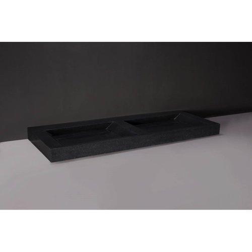 Wastafel Forzalaqua Bellezza Doppio Cloudy Marmer Graniet Gezoet 2 Kraangaten 140,5x51,5x9 cm