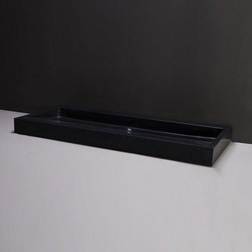 Wastafel Forzalaqua Palermo Graniet Gezoet Met Kraangat Zwart 100,5x51,5x9 cm