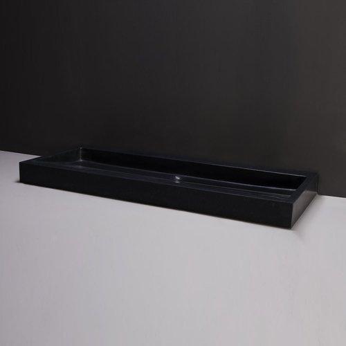 Wastafel Forzalaqua Palermo Graniet Gezoet Met Kraangat Zwart 120,5x51,5x9 cm