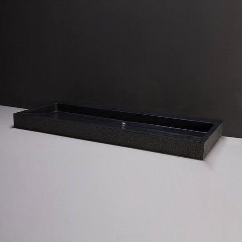 Wastafel Forzalaqua Palermo Graniet Gezoet Gebrand 2 Kraangaten Zwart 120,5x51,5x9 cm