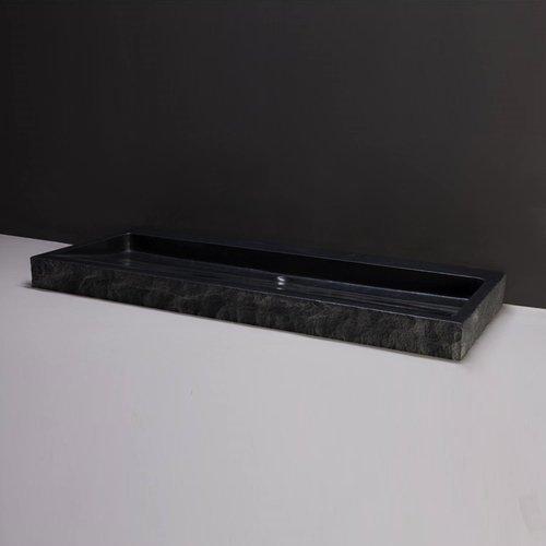 Wastafel Forzalaqua Palermo Graniet Gezoet Gekapt Met Kraangat Zwart 120,5x51,5x9 cm