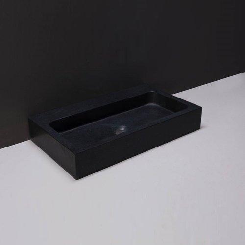Wastafel Forzalaqua Taranto Graniet Gezoet Zonder Kraangat Zwart 50x30x8 cm