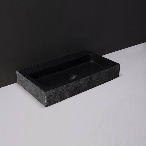 Wastafel Forzalaqua Taranto Graniet Gezoet Gekapt Zonder Kraangat Zwart 50x30x8 cm