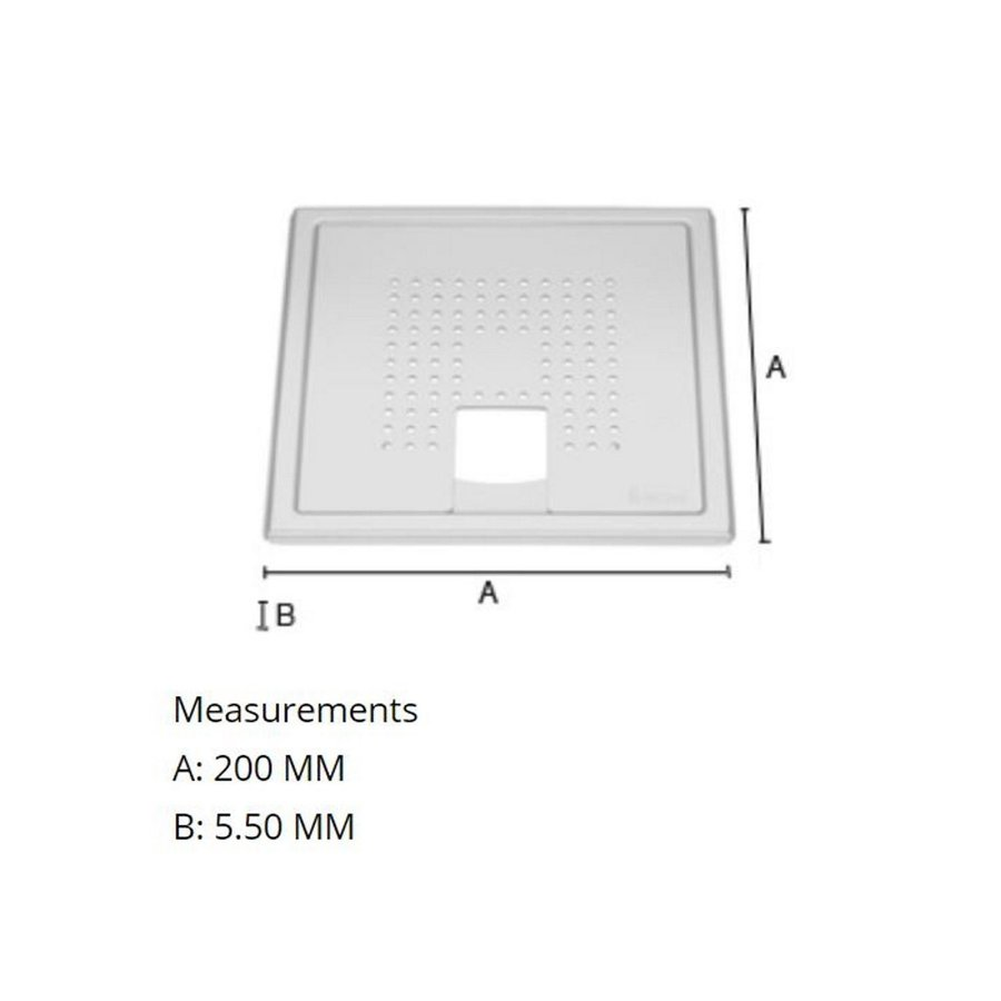 Afvoerrooster Smedbo Outline Met Vierkant Patroon Voor Badkuip 20 x 20 x 0.55 cm RVS