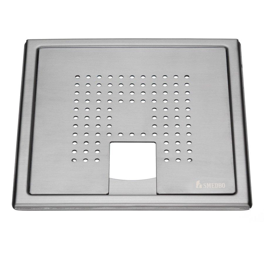 Afvoerrooster Smedbo Outline Met Vierkant Patroon Voor Badkuip 20 x 20 x 0.55 cm Geborsteld RVS