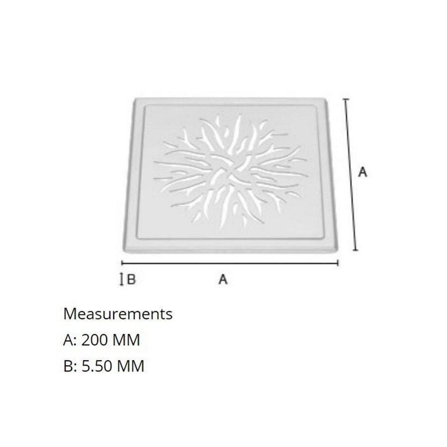Afvoerrooster Smedbo Outline Met Kroonpatroon Voor Badkuip 20 x 20 x 0.55 cm Geborsteld RVS