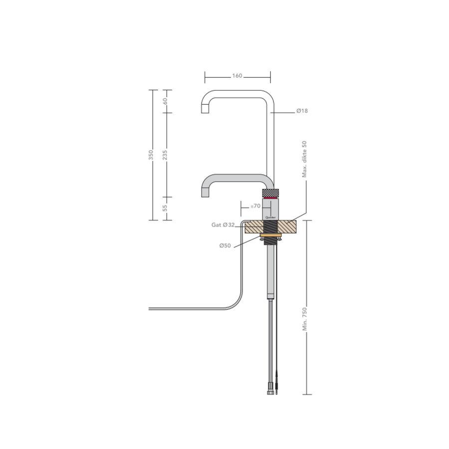 Quooker Kokendwaterkraan Nordic Square Single Tap Chroom