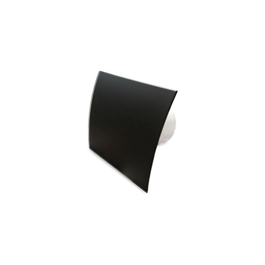 Badkamer Ventilator Pro Design Standaard Trekkoord 100mm 105 m3 Gebogen Glas Zwart Mat