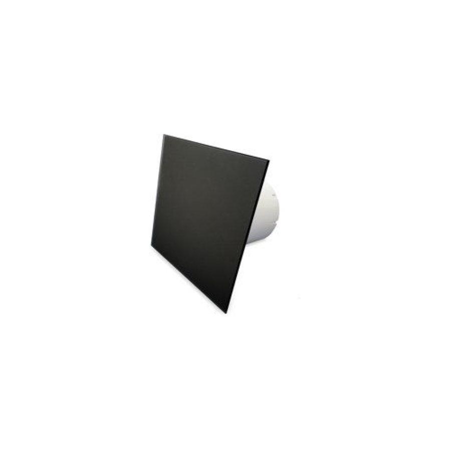 Badkamer Ventilator Pro Design Standaard Trekkoord 100mm 105 m3 Vlak Glas Zwart Mat