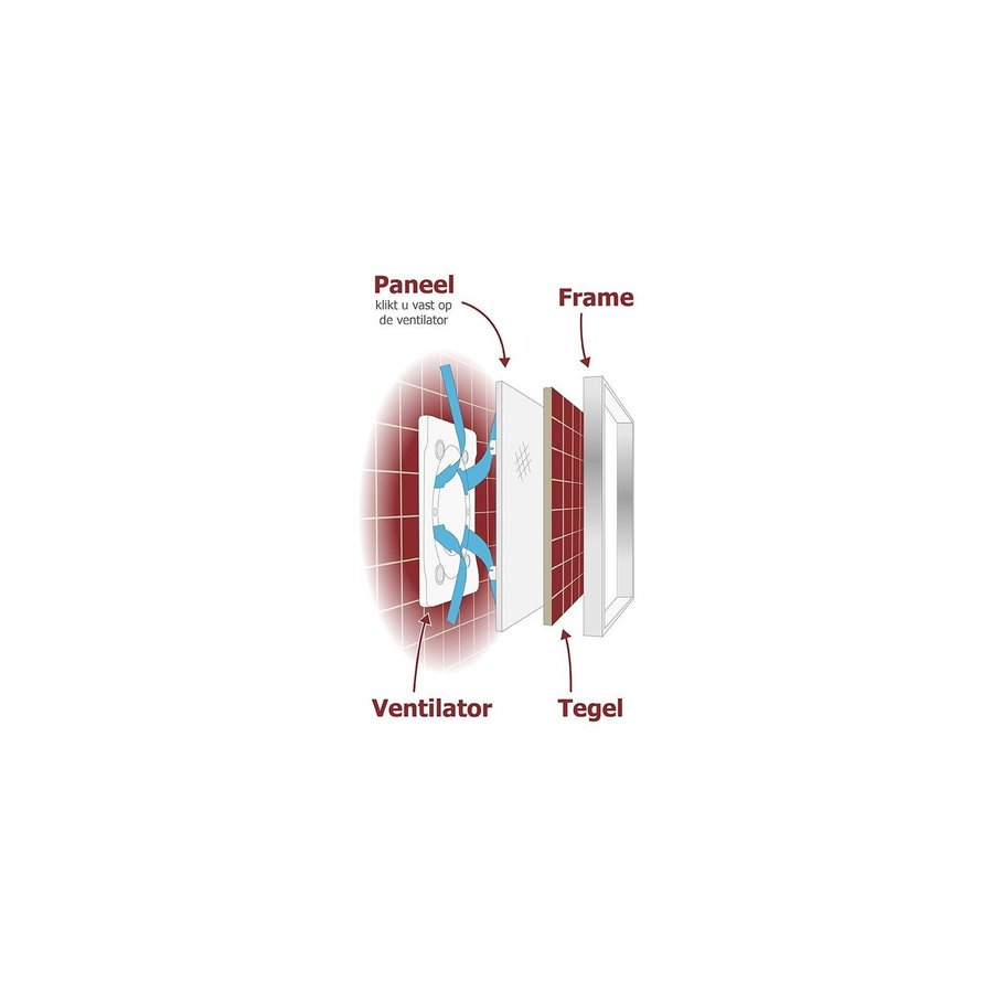 Badkamer Ventilator Pro Design Standaard Trekkoord 100mm 105 m3 Tegelfront Kunststof