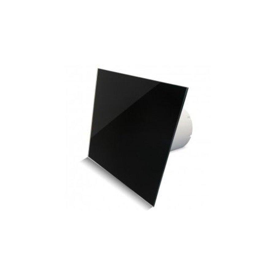 Badkamer Ventilator Pro Design Nalooptimer 125mm 170 m3 Vlak Glas Zwart Glans