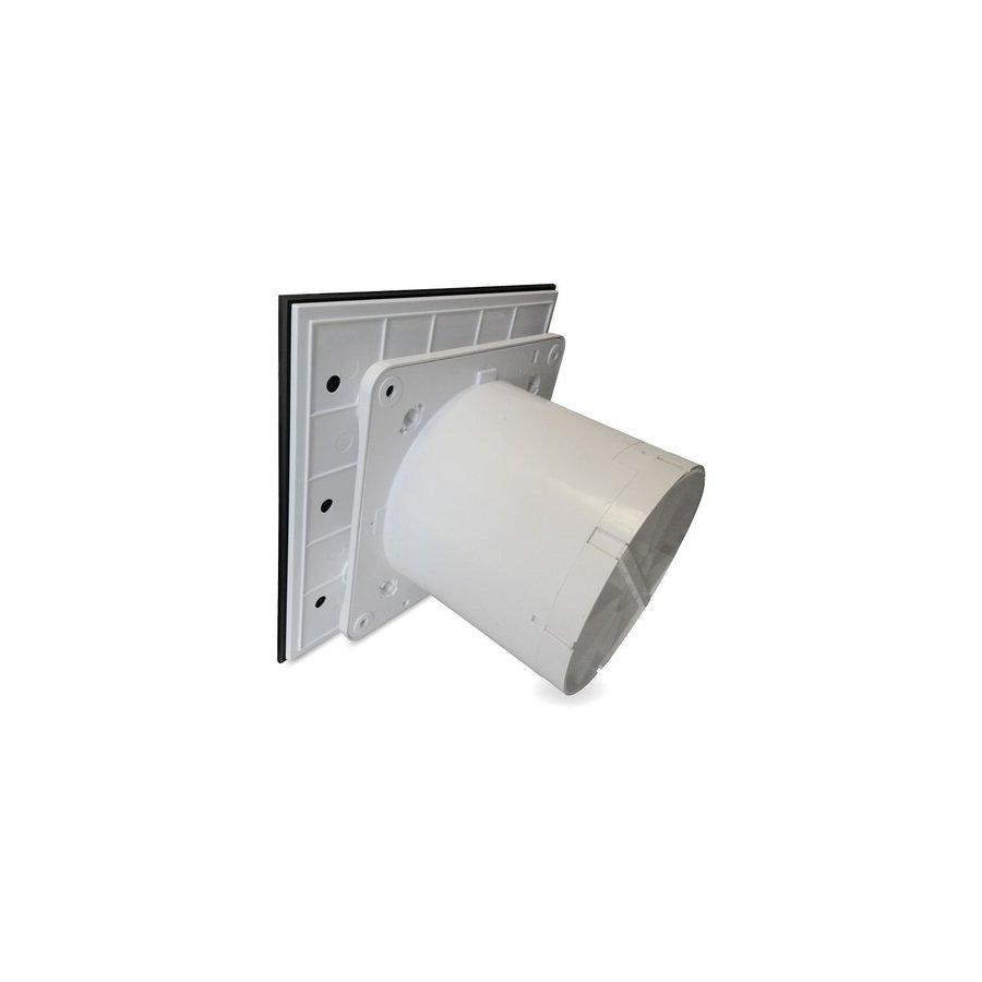Badkamer Ventilator Pro Design Nalooptimer 125mm 170 m3 Vlak Glas Zwart Mat